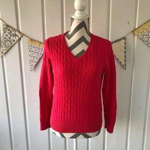 St John's Bay Hot Pink V Neck Cable Knit Sweater